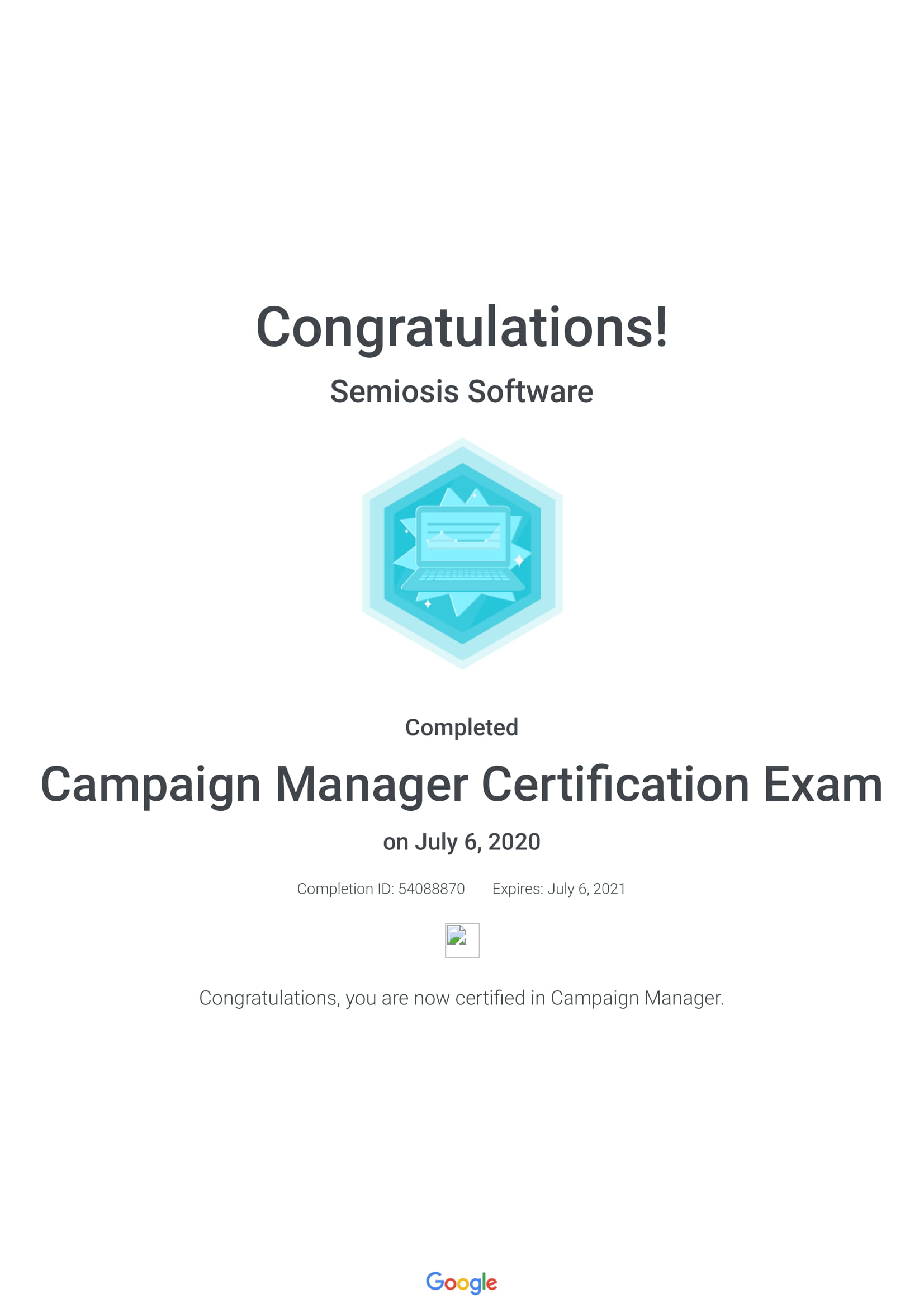 Campaign Manager Certification Exam