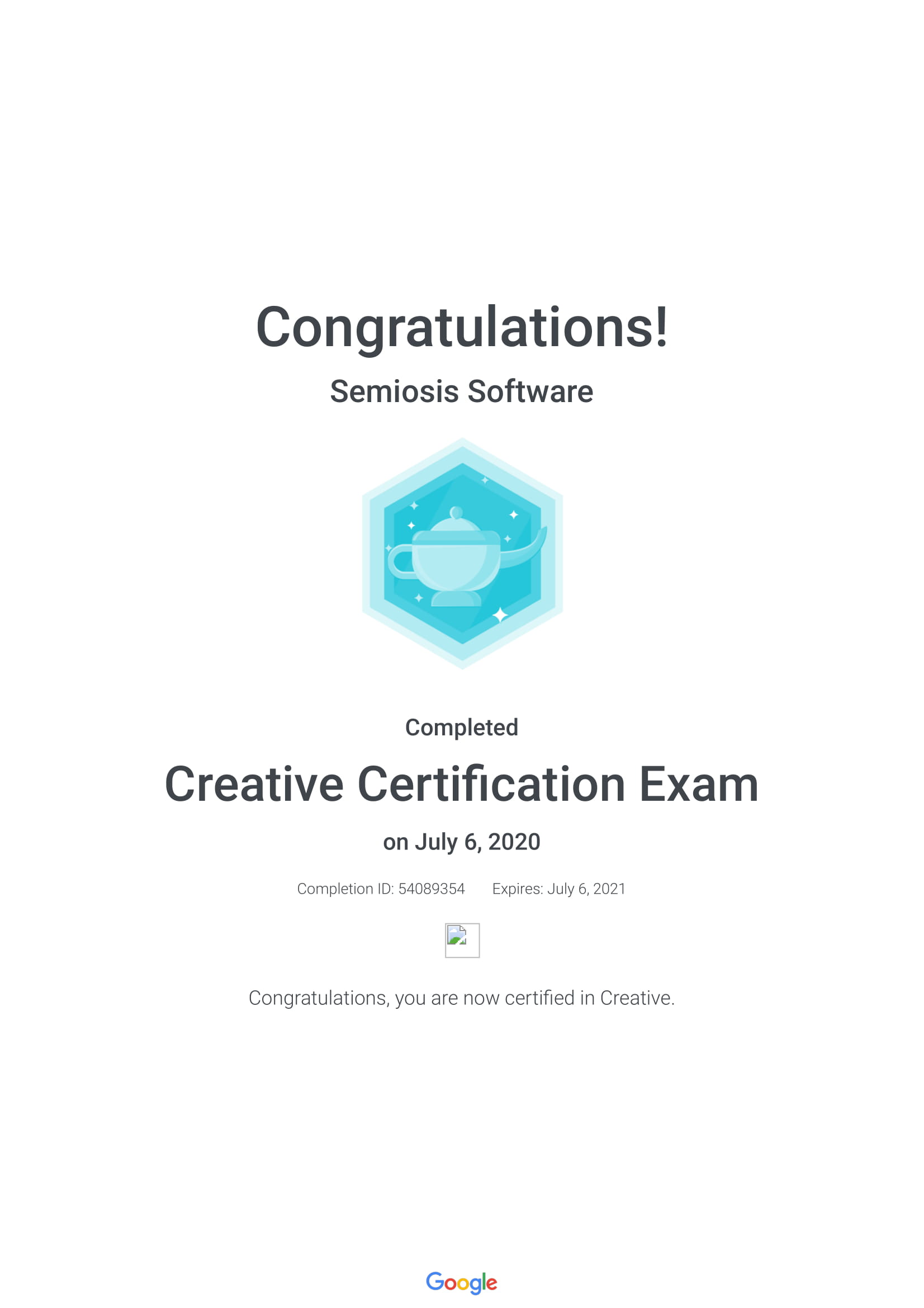 Creative Certification Exam