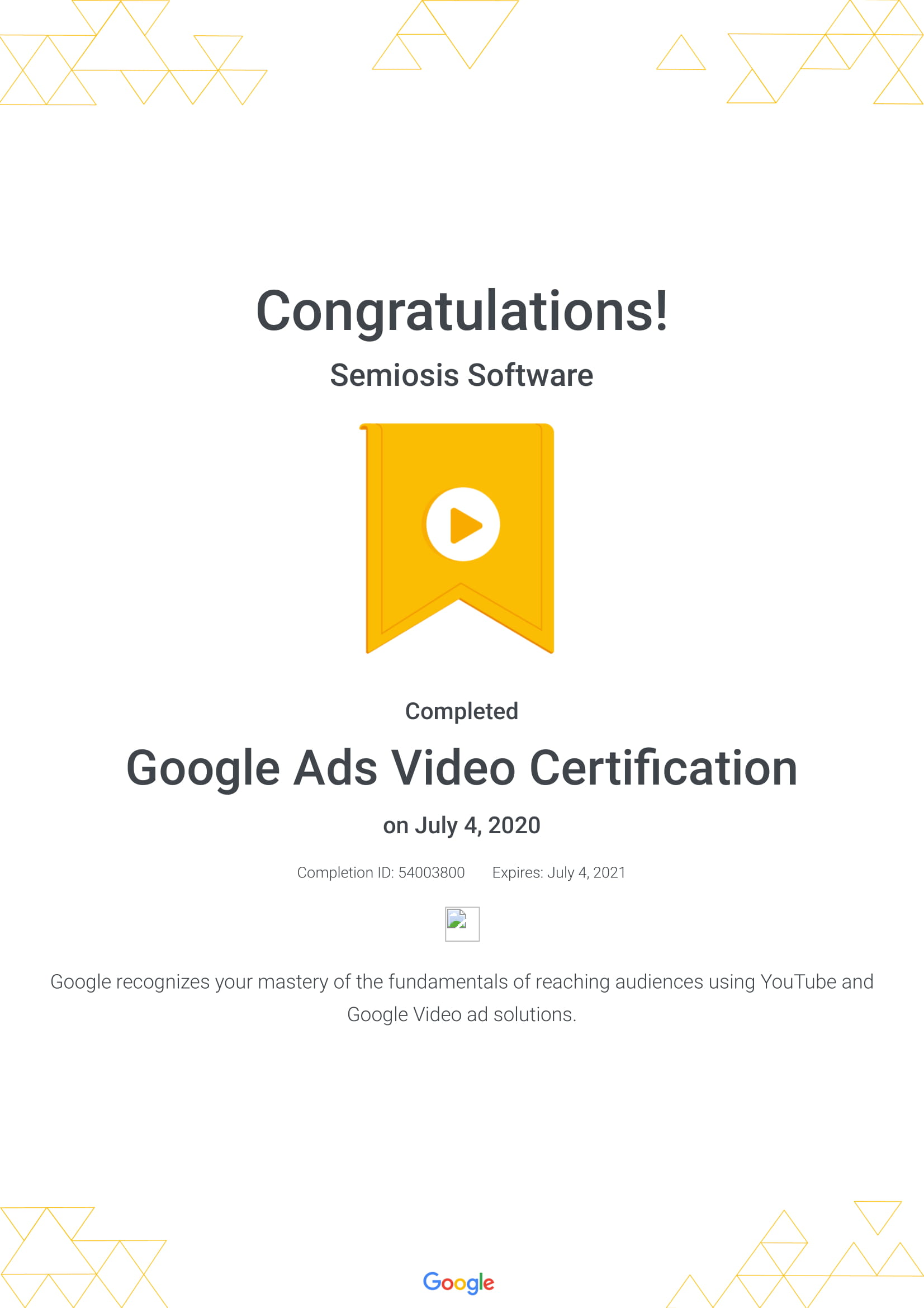 Google Ads Video Certification